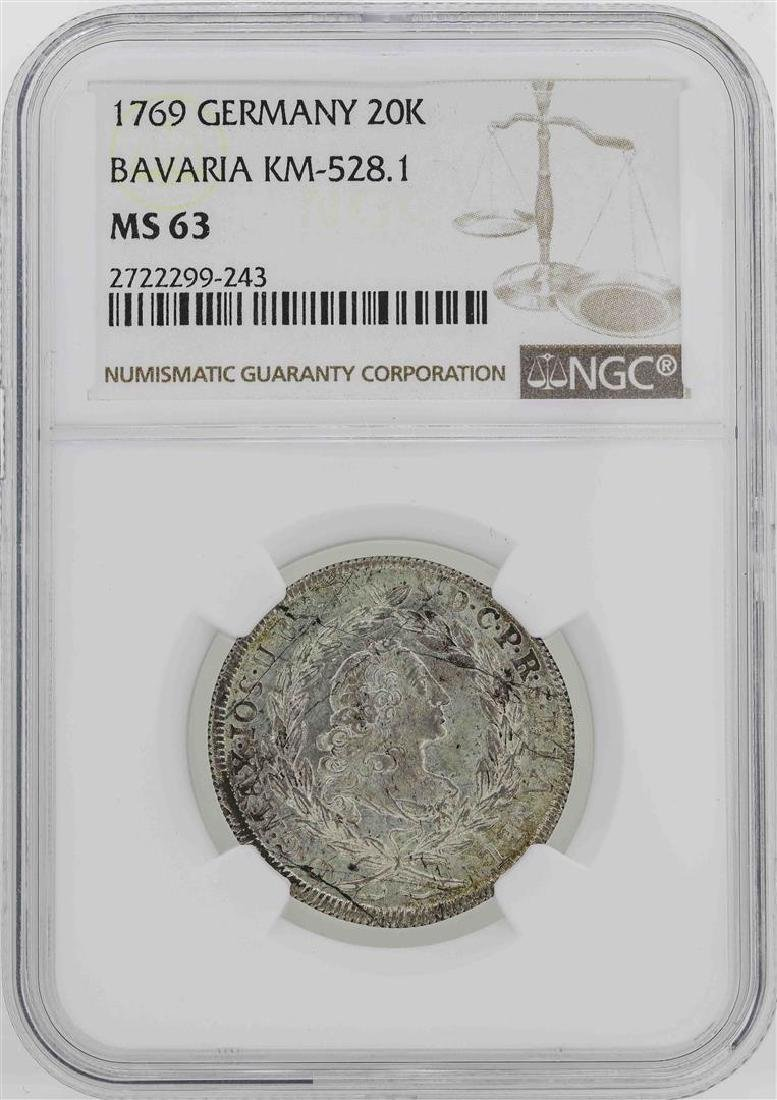 1769 Germany Bavaria 20 Kreuzer Coin NGC MS63