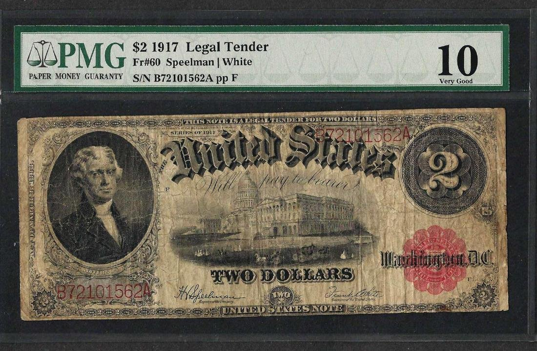 1917 $2 Legal Tender Note Fr.60 PMG Very Good 10