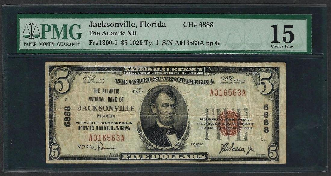 1929 $5 National Currency Note Jacksonville, Florida