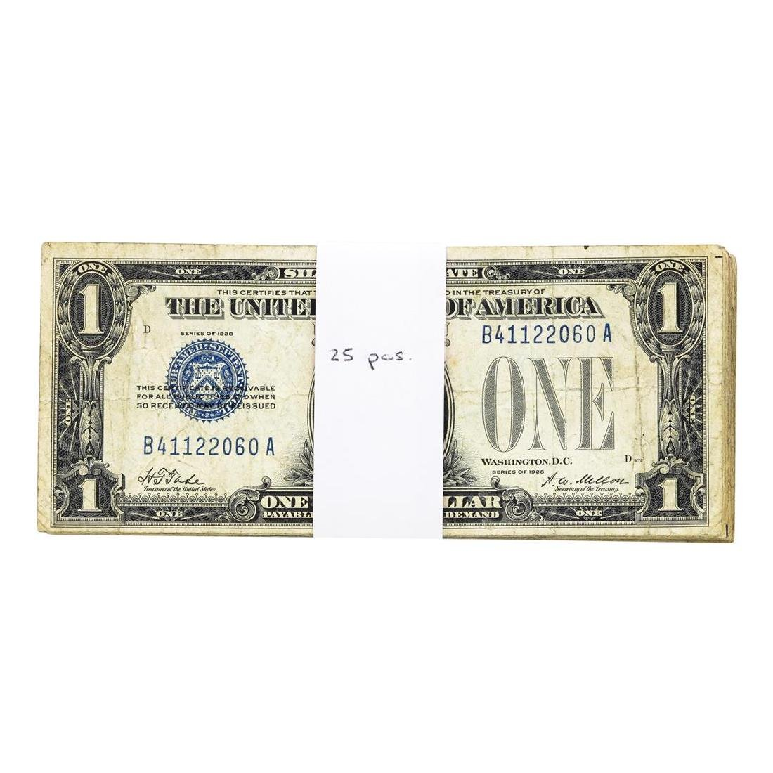 Lot of (25) 1928 $1 Silver Certificate Funnyback Notes