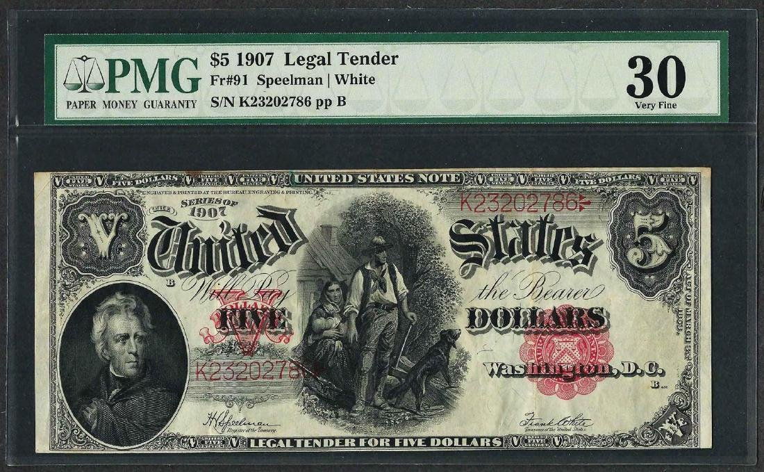 1907 $5 Woodchopper Legal Tender Note Fr.91 PMG Very