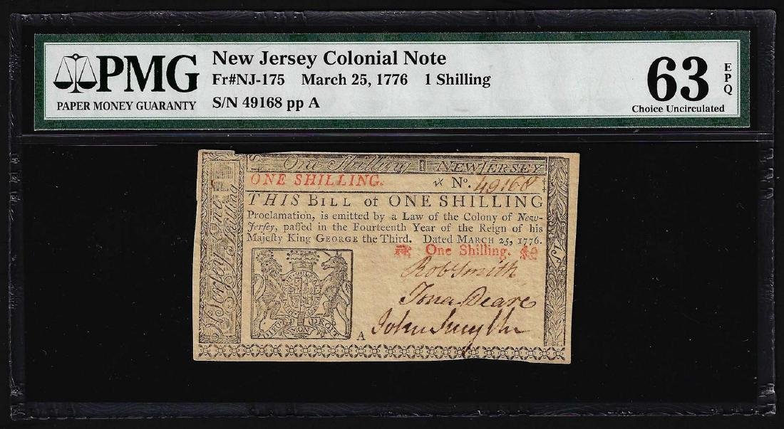 March 25, 1776 New Jersey 1 Shillings Colonial Note PMG