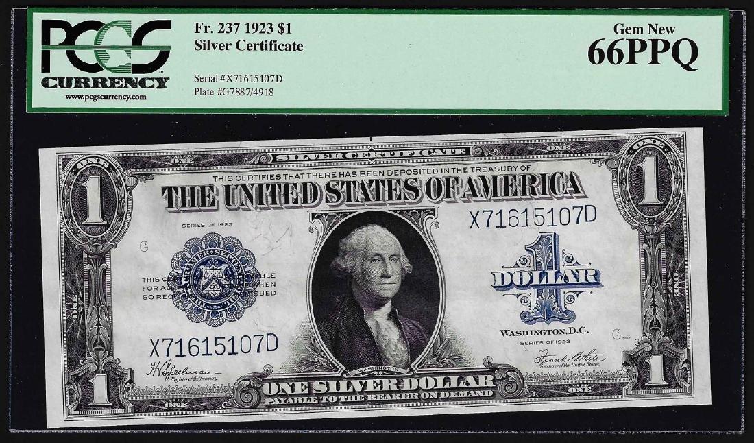 1923 $1 Silver Certificate Note Fr.237 PCGS Gem New