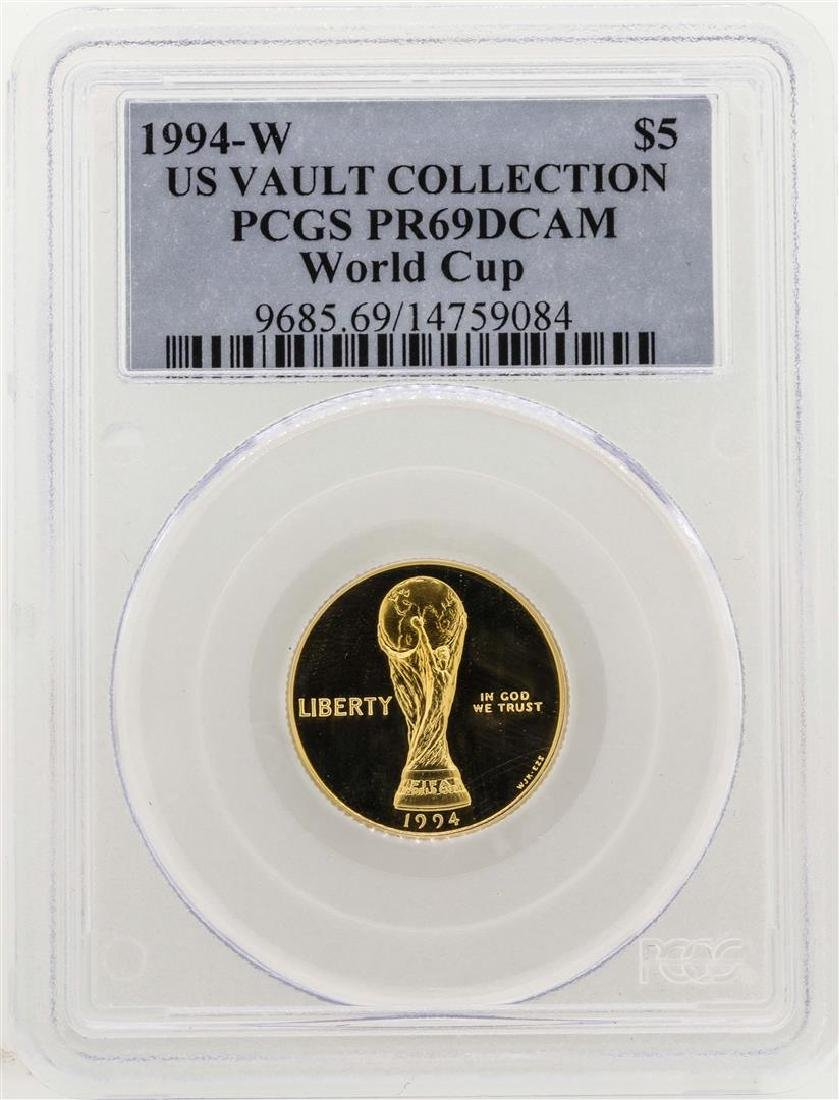 1994-W $5 US Vault Collection World Cup Gold Coin PCGS