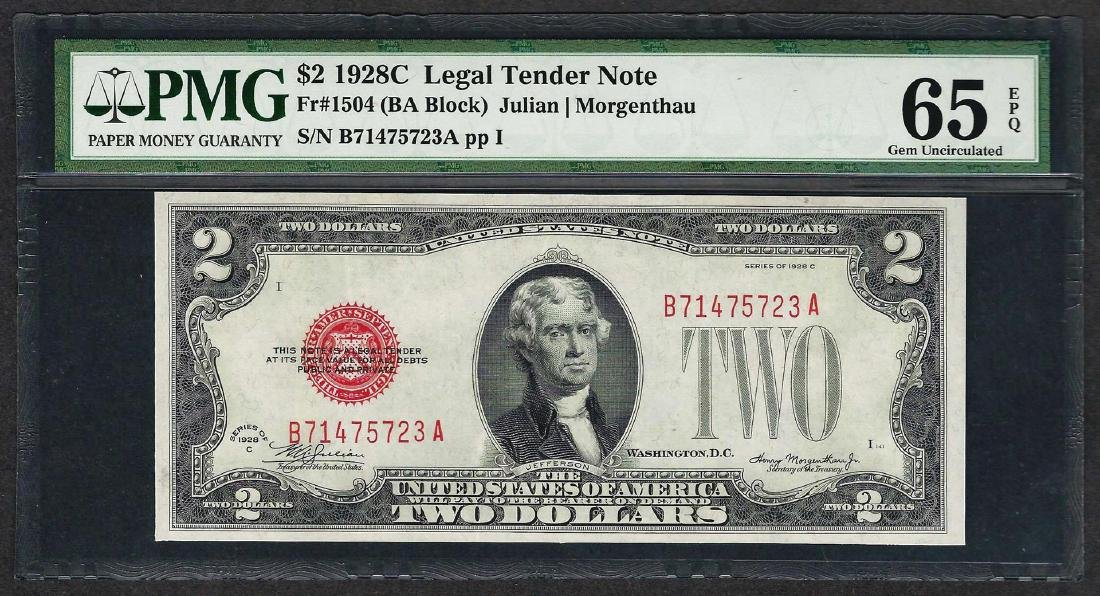 1928C $2 Legal Tender Note Fr.1504 PMG Gem Uncirculated