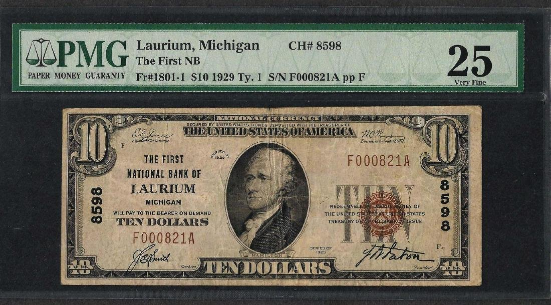 1929 $10 National Currency Note Laurium, MI CH# 8598
