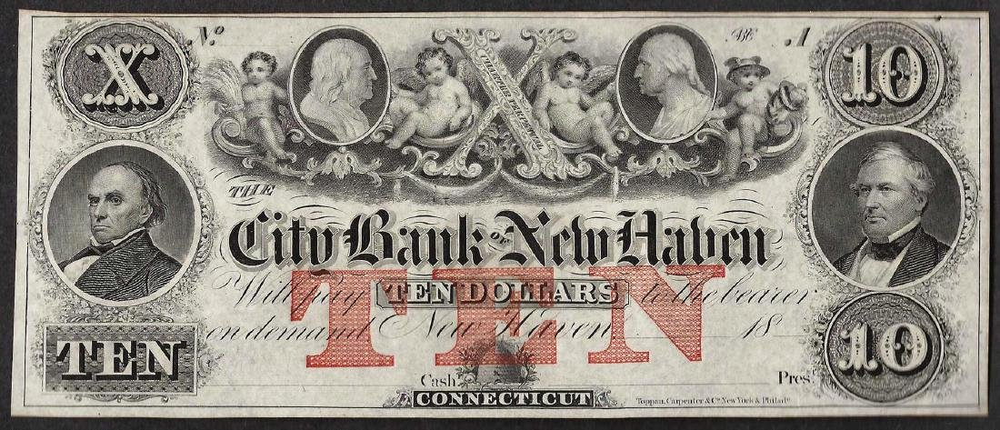 1800's $10 The City Bank of New Haven Obsolete Note