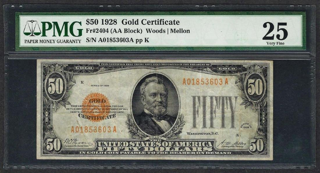 1928 $50 Gold Certificate Note Fr.2404 PMG Very Fine 25