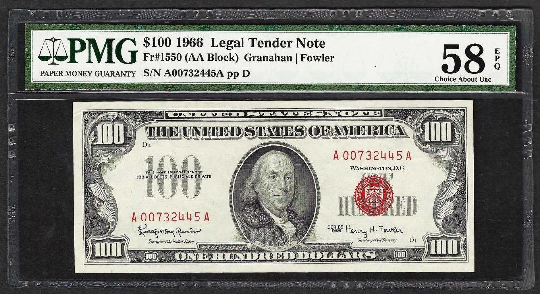 1966 $100 Legal Tender Note Fr.1550 PMG Choice About