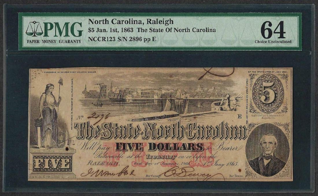 1863 $5 The State of North Carolina Obsolete Note PMG