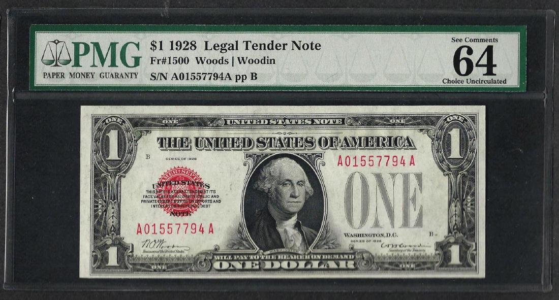 1928 $1 Legal Tender Note Fr.1500 PMG Choice