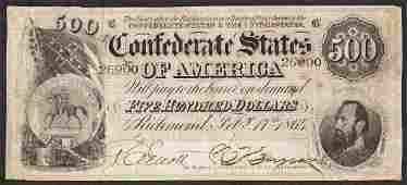 1864 500 Confederate States of America Note