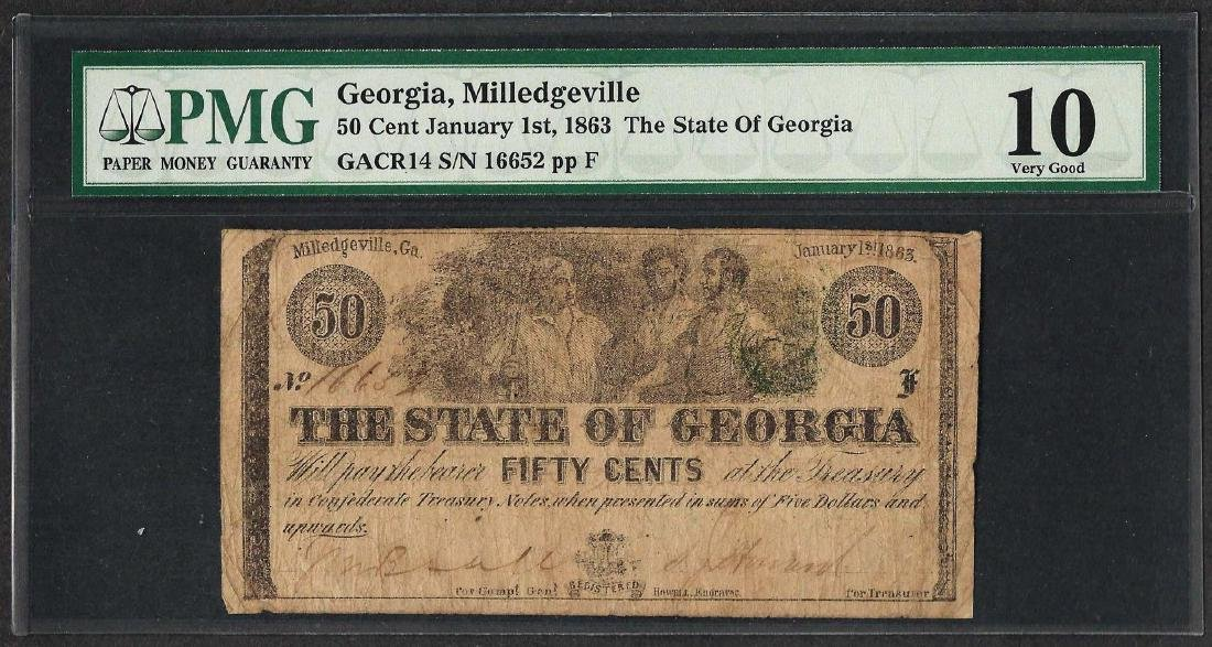 1863 50 Cent The State of Georgia Obsolete Note PMG