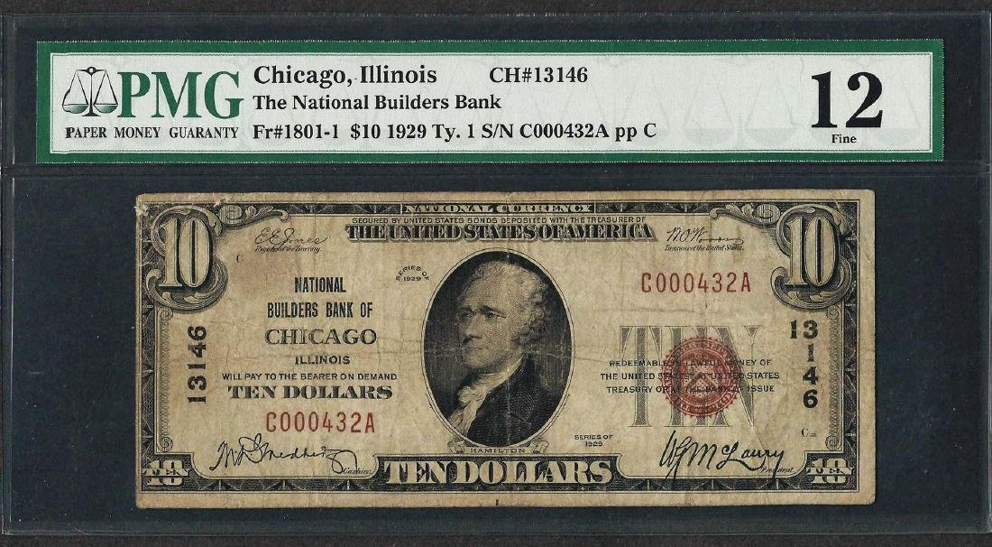 1929 $10 National Currency Note Chicago, Illinois CH#