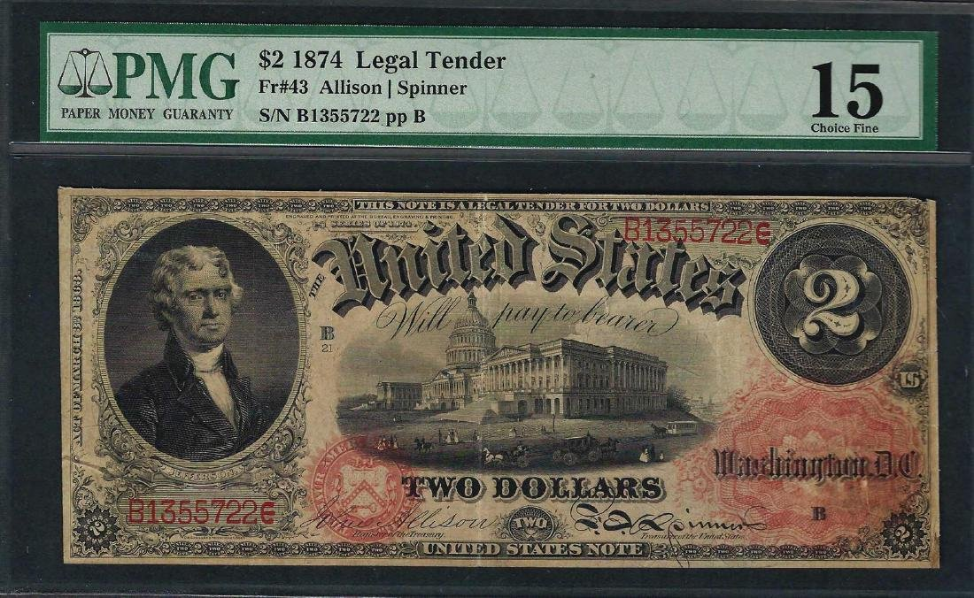 1874 $2 Legal Tender Note Fr.43 PMG Choice Fine 15