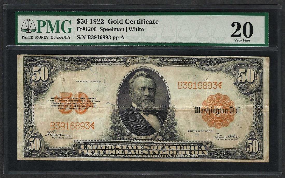 1922 $50 Gold Certificate Note Fr.1200 PMG Very Fine 20