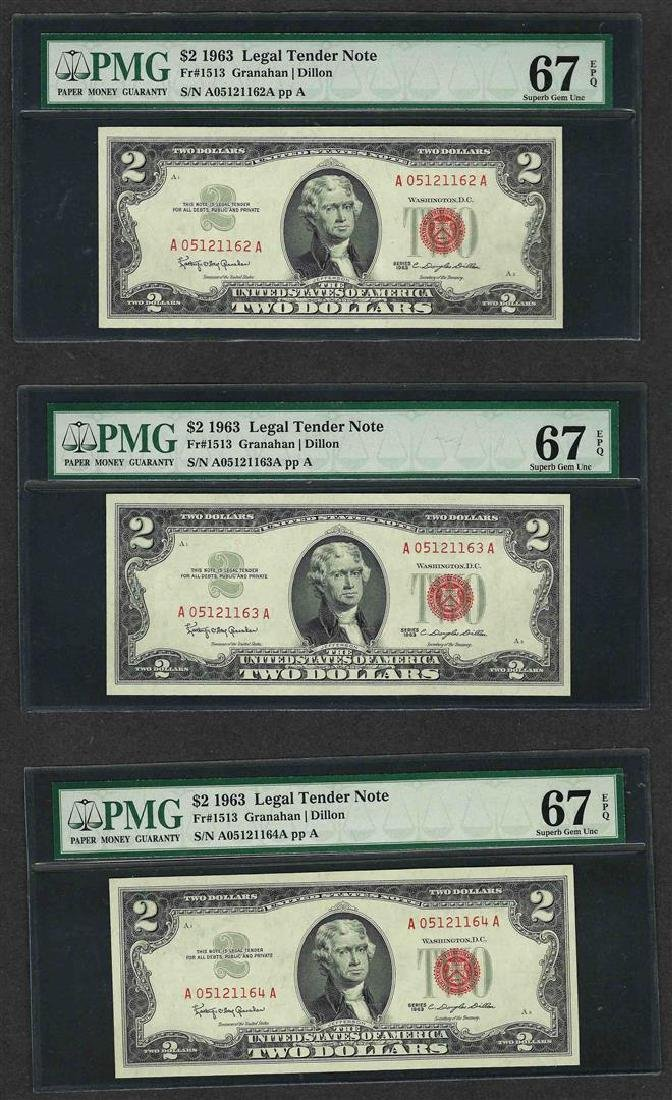 Lot of (3) Consecutive 1963 $2 Legal Tender Notes PMG