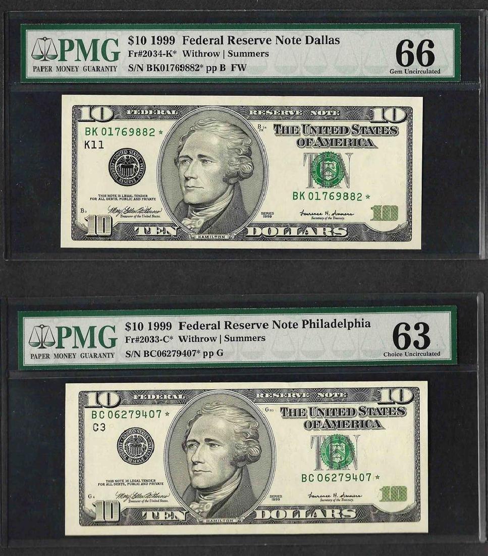 Lot of (2) 1999 $10 Federal Reserve Notes PMG Gem Unc.