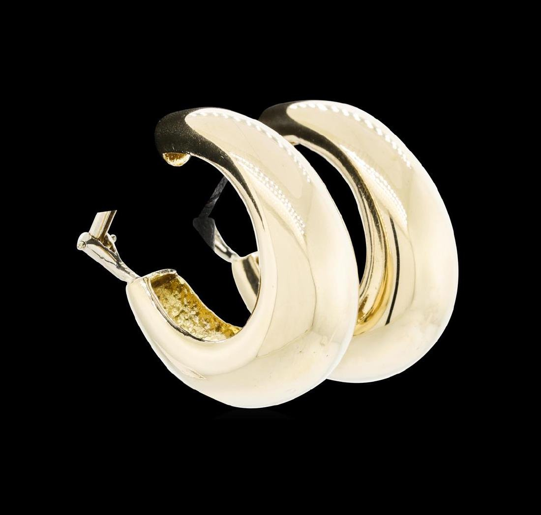 """14KT Yellow Gold Tapered """"J"""" Style Earrings"""