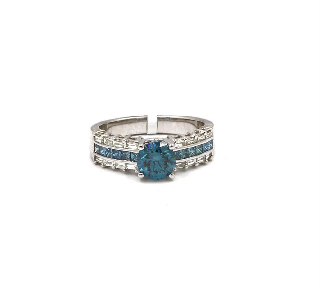 14KT White Gold 1.85 ctw Fancy Blue Diamond Wedding