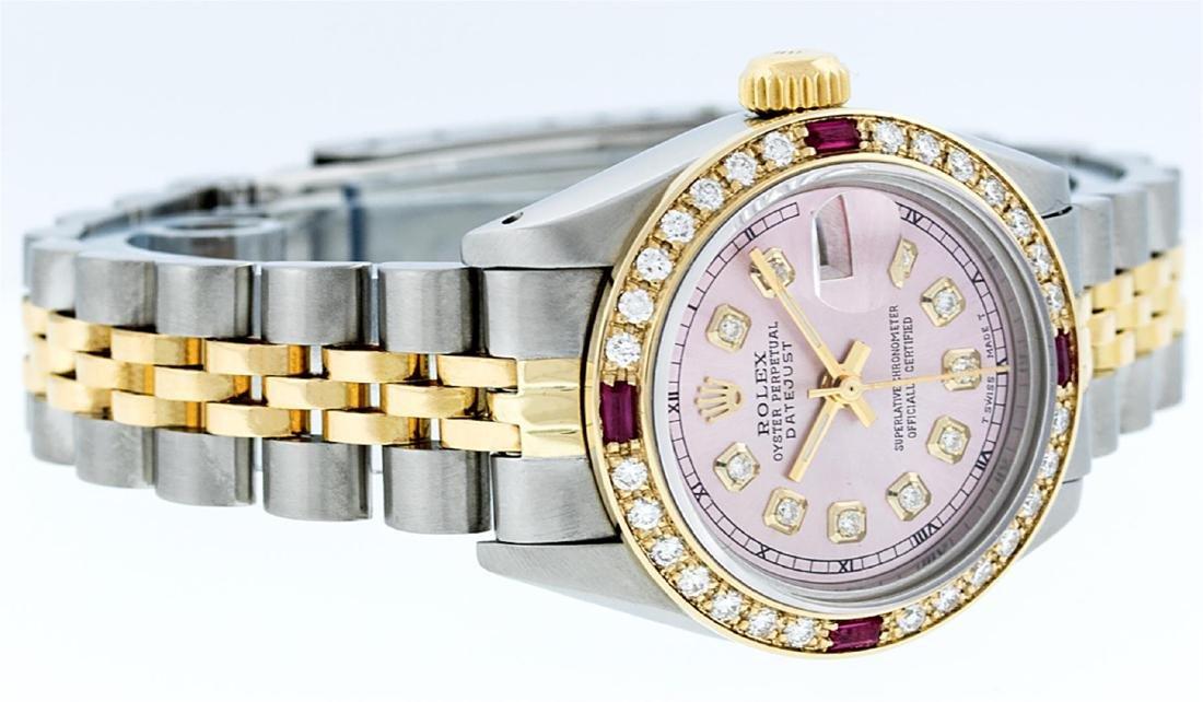 Rolex Ladies Two Tone 14K Ice Pink Diamond & Ruby - 2