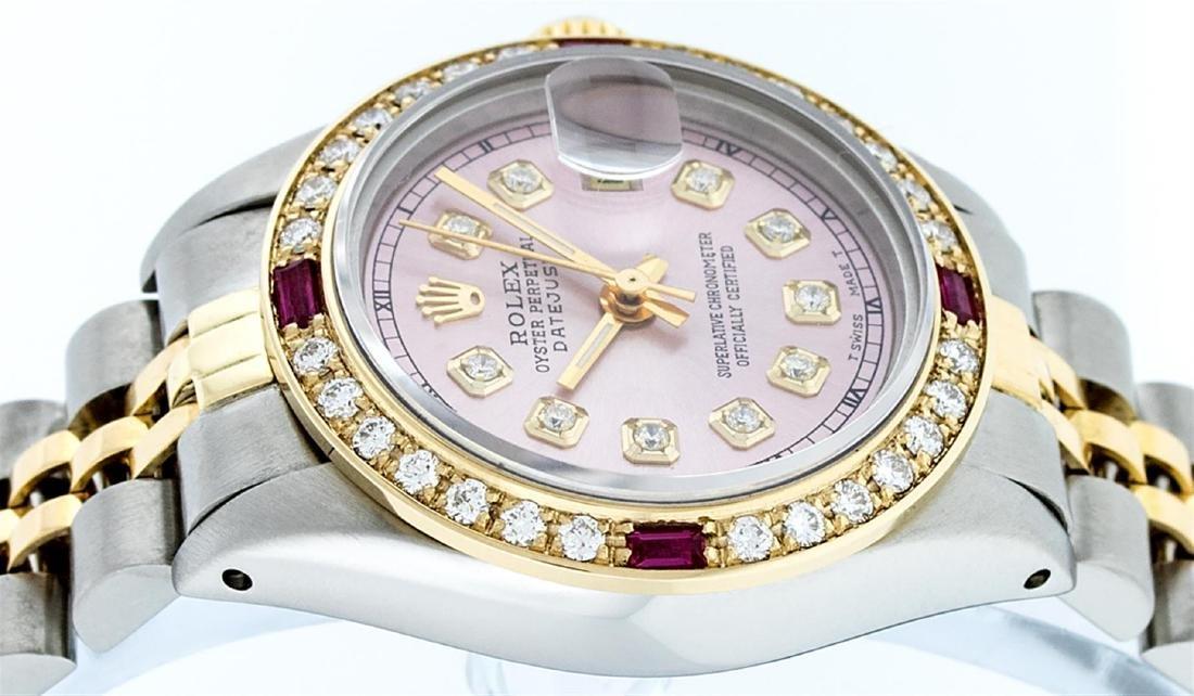 Rolex Ladies Two Tone 14K Ice Pink Diamond & Ruby - 8