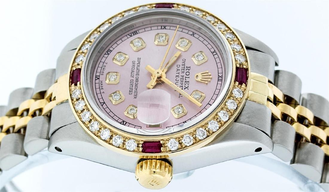 Rolex Ladies Two Tone 14K Ice Pink Diamond & Ruby - 9