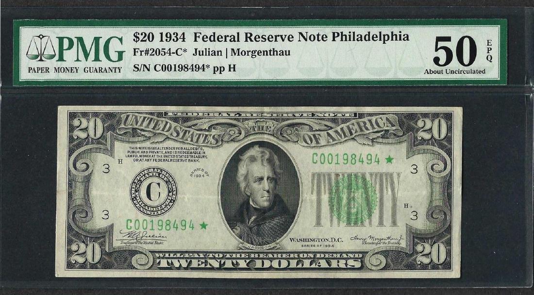 1934 $20 Federal Reserve STAR Note Philadelphia