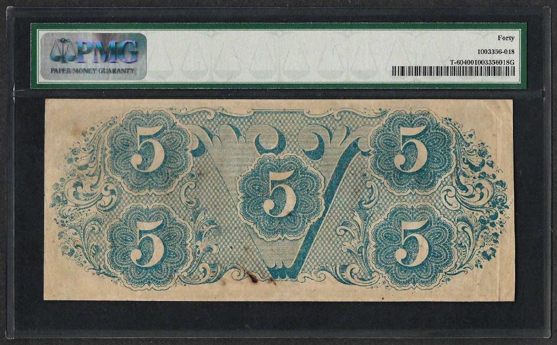 1863 $5 Confederate States of America Note T-60 PMG - 2