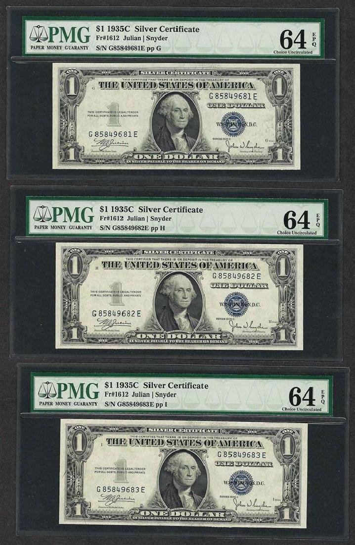 Lot of (3) Consecutive 1935C $1 Silver Certificate