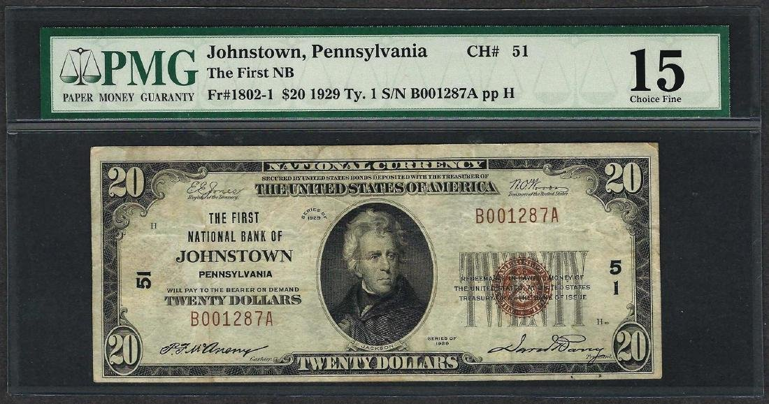 1929 $20 National Currency Note Johnstown, Pennsylvania