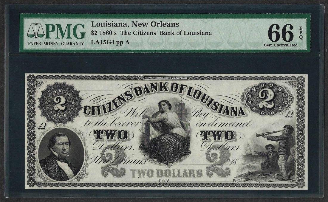 1860's $2 Citizens Bank of Louisiana Obsolete Note PMG