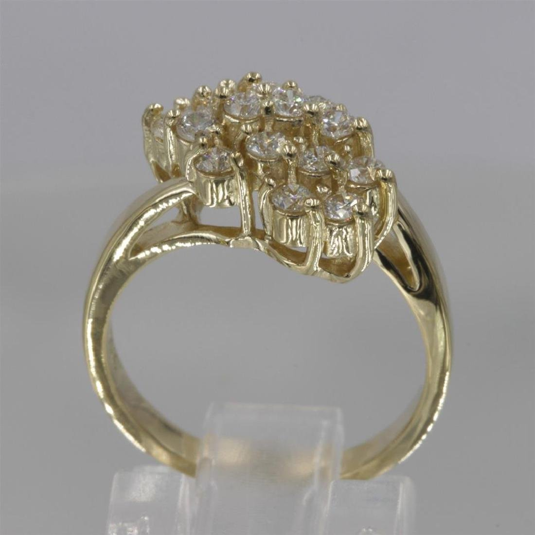 14KT Yellow Gold 0.64 ctw Diamond Cluster Ring - 2