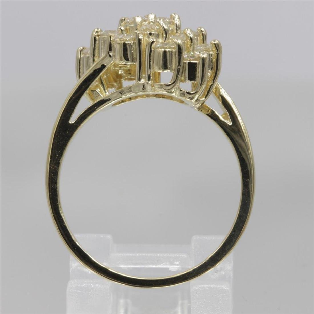 14KT Yellow Gold 0.64 ctw Diamond Cluster Ring - 4