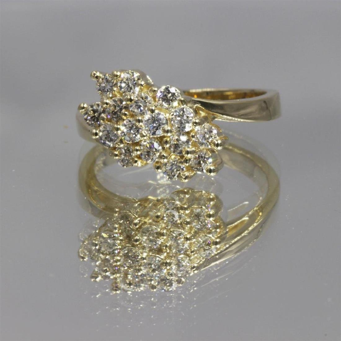 14KT Yellow Gold 0.64 ctw Diamond Cluster Ring - 6