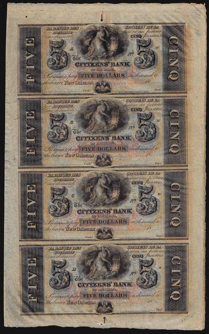 Uncut Sheet of $5 Citizens Bank of Louisiana Obsolete