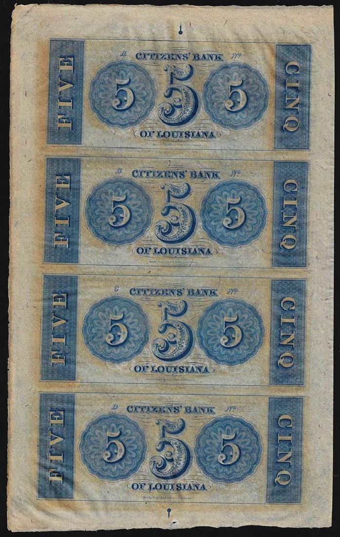 Uncut Sheet of $5 Citizens Bank of Louisiana Obsolete - 2