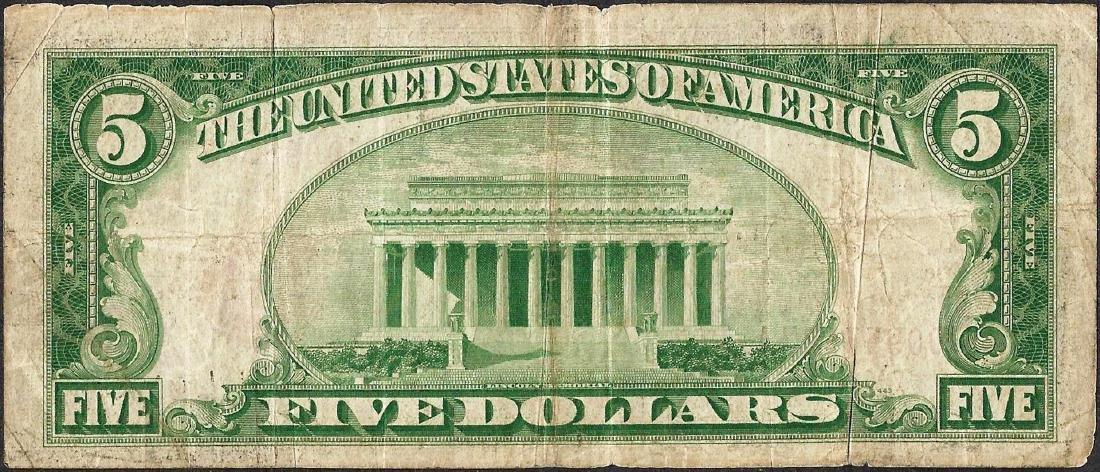 1929 $5 Federal Reserve Bank Note Kansas City, MO - 2