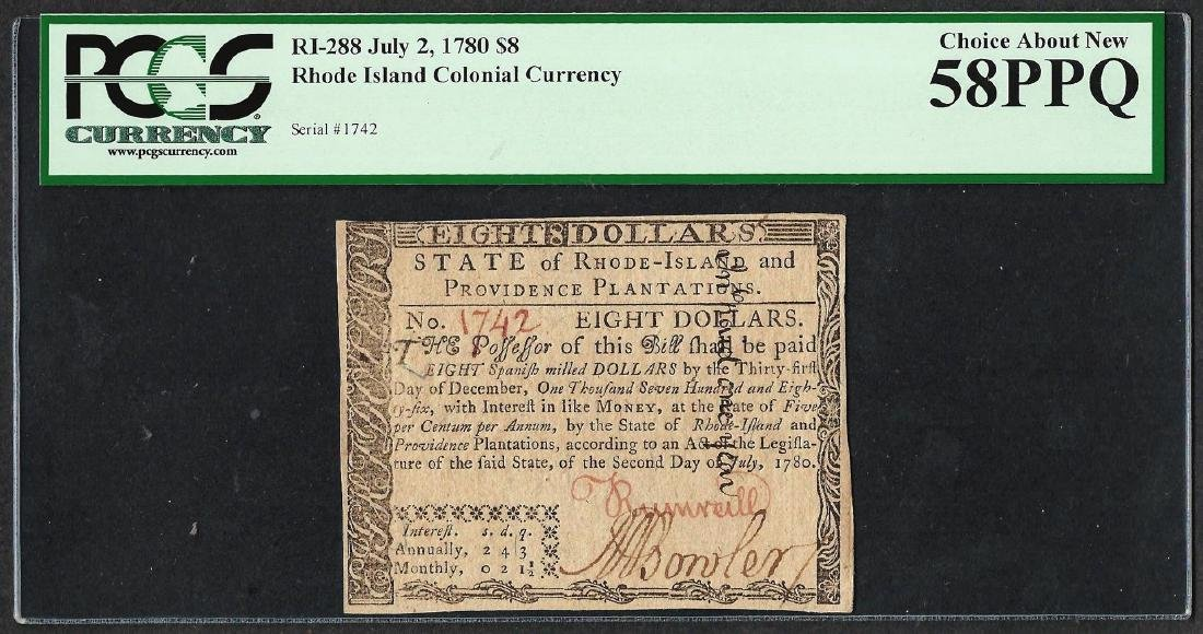 July 2, 1780 $8 Rhode Island Colonial Currency Note