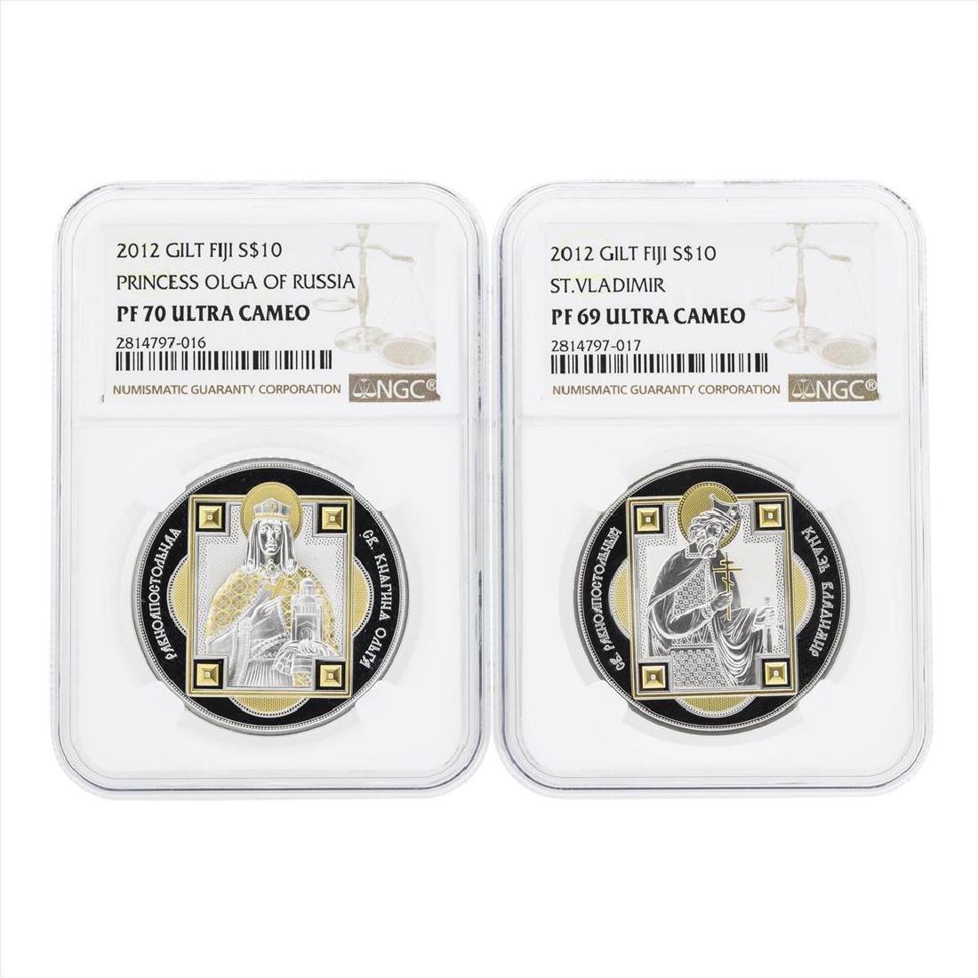 Set of (2) 2012 Gilt Fiji $10 Silver Coins NGC PF70