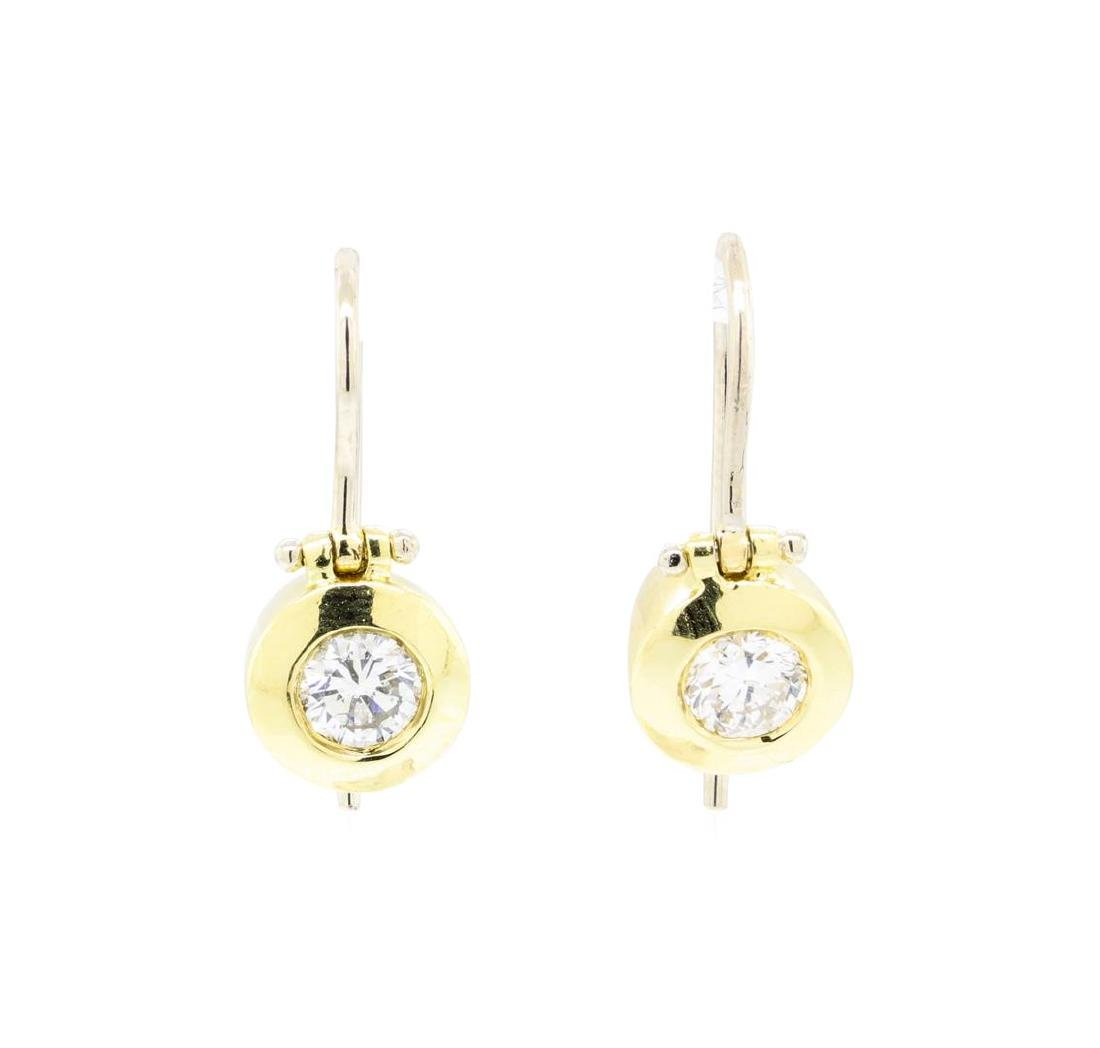 18KT Yellow and White Gold 0.68 ctw Diamond Earrings