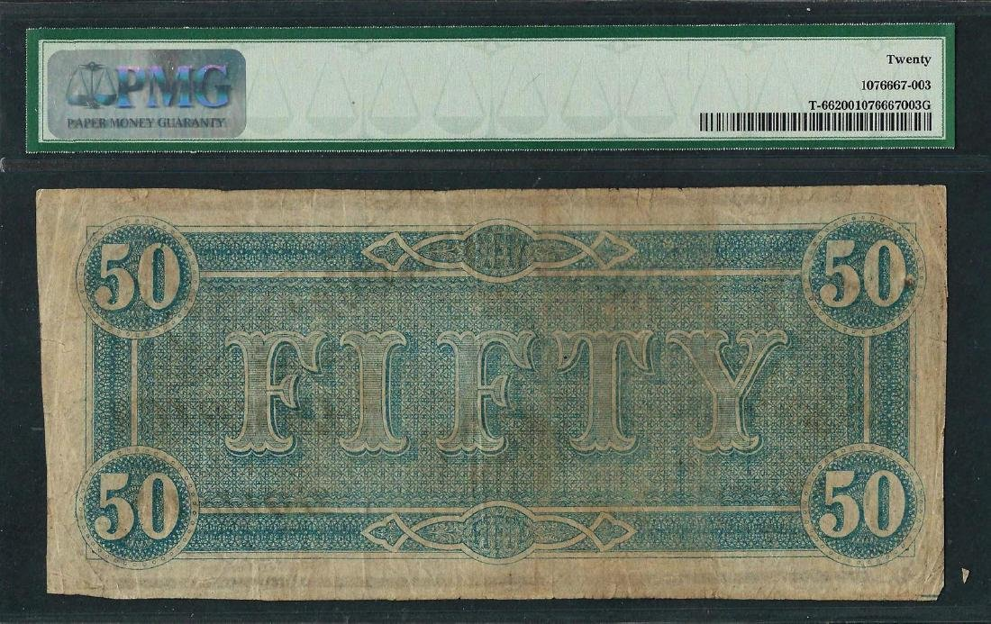 1864 $50 Confederate States of America Note T-66 PMG - 2