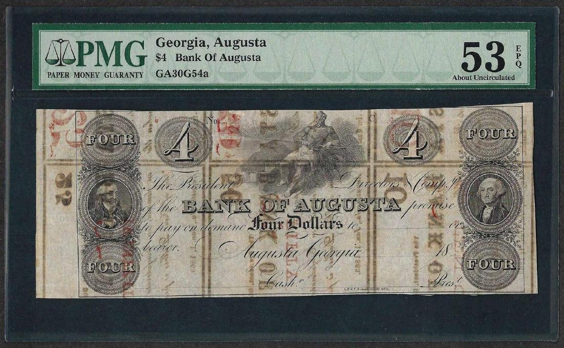 1800's $4 Bank of Augusta Obsolete Note PMG About