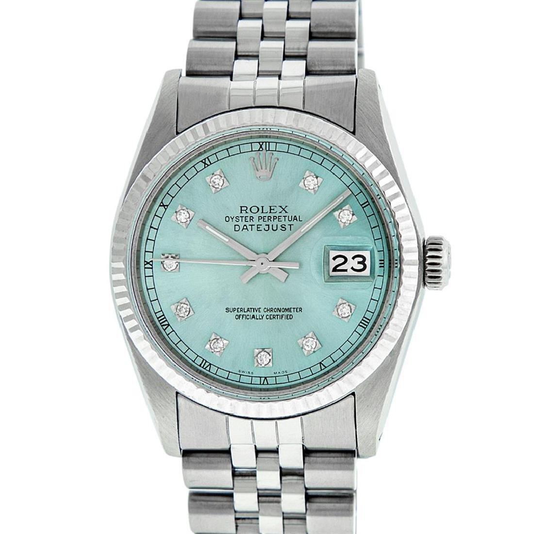 Rolex Men's Stainless Steel Ice Blue Diamond Datejust