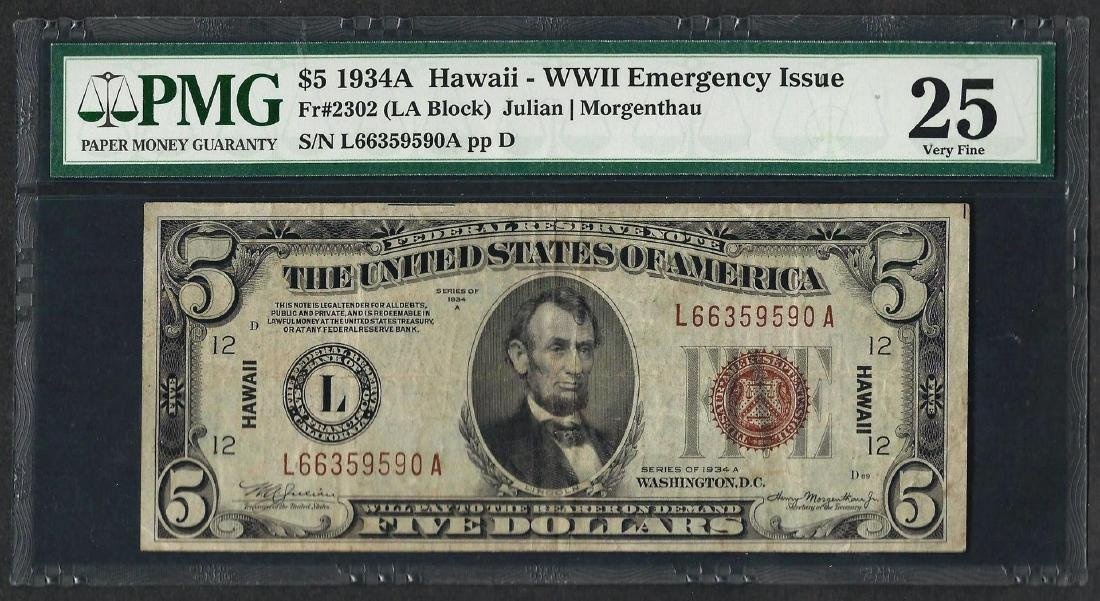 1934A $5 Hawaii Federal Reserve WWII Emergency Note