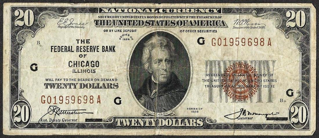 1929 $20 Federal Reserve Bank Note Chicago, IL