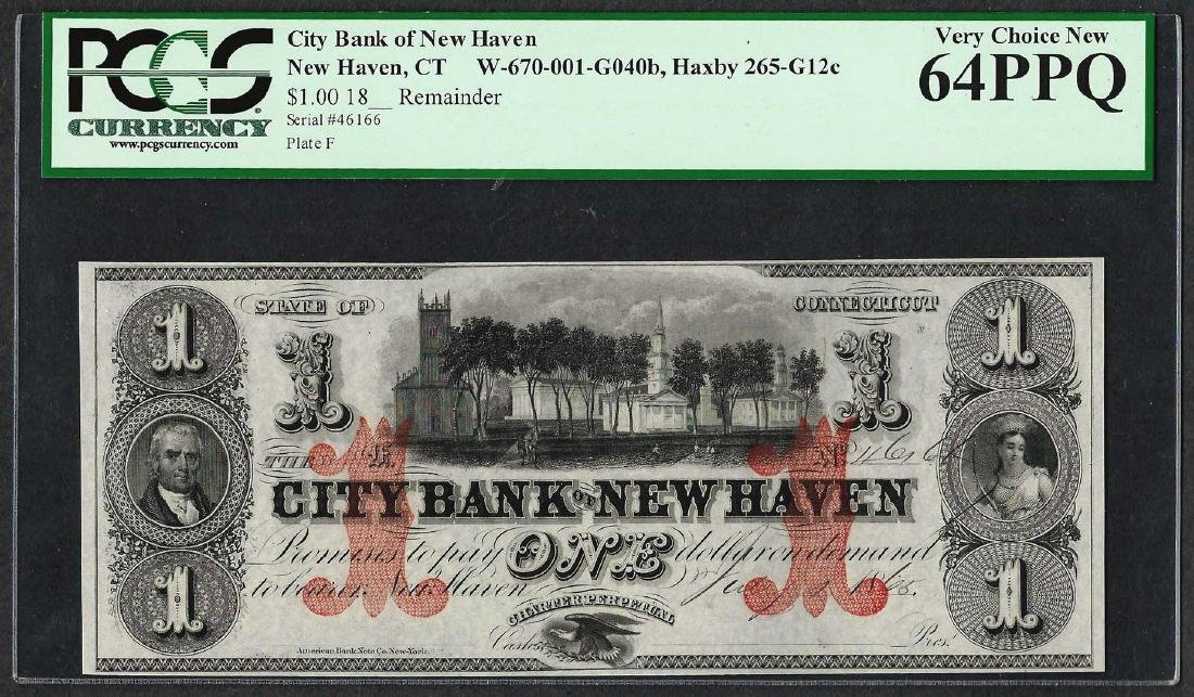 1865 $1 City Bank of New Haven Obsolete Note PCGS Very