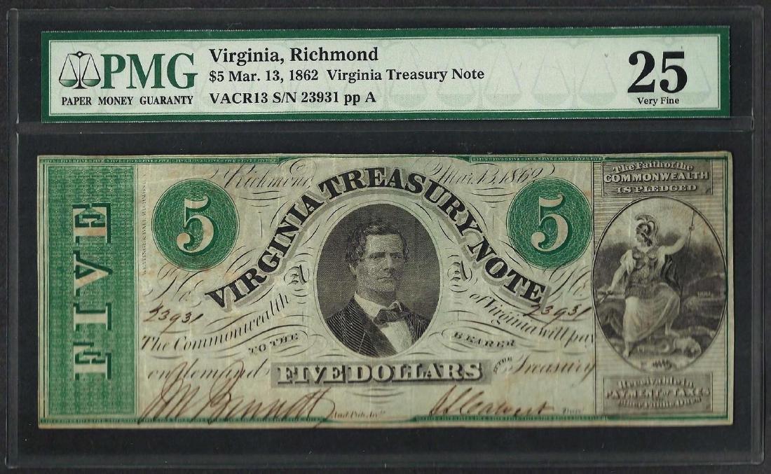 1862 $5 Virginia Treasury Note Obsolete Note PMG Very