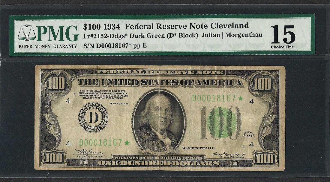 1934 $100 Federal Reserve STAR Note Fr.2152-Ddgs* PMG