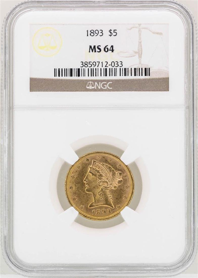 1893 $5 Liberty Head Half Eagle Gold Coin NGC MS64